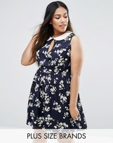 Koko Plus Skater Dress With Collar In Floral Print