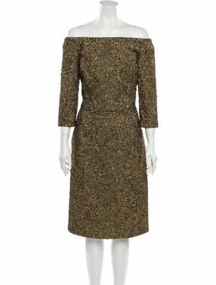 Oscar de la Renta 2017 Knee-Length Dress w/ Tags Gold