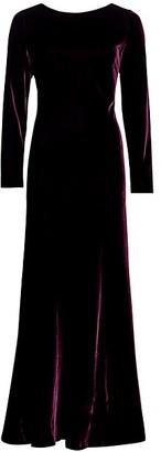 Alberta Ferretti Long-Sleeve Silk Velvet Gown