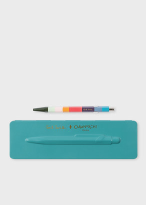 Paul Smith Caran d'Ache + 849 'Artist Stripe' Ballpoint Pen With Peacock Blue Case