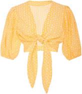 Lisa Marie Fernandez Pouf Eyelet Tie Cotton Blouse