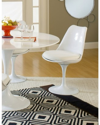 Bsd National Supplies Deland Tulip Style Swivel Dining Chair with White Cushioned Seat