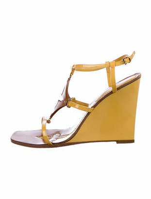 Louis Vuitton Patent Leather Cutout Accent T-Strap Sandals Yellow