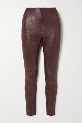 Commando Stretch Faux Croc-effect Leather Leggings - Brown