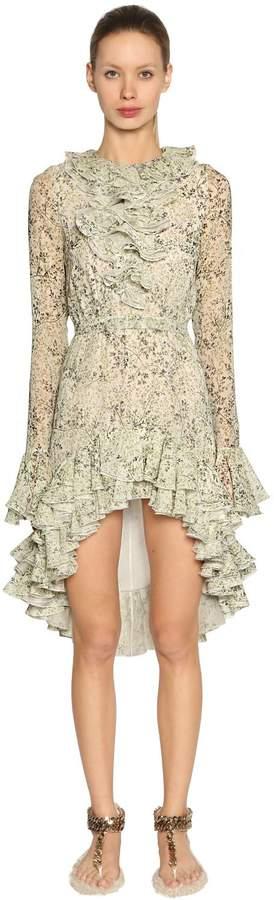 Giambattista Valli Ruffled Floral Silk Georgette Dress