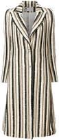 Lanvin long embellished striped coat