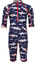 John Lewis Boys' Shark Print SunPro Suit, Navy
