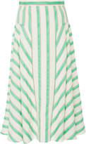 DELPOZO Striped Linen-Blend Midi Skirt