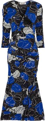 Diane von Furstenberg Briella Ruched Printed Stretch-mesh Midi Dress