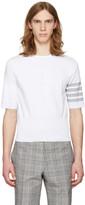 Thom Browne White Trompe l'Oeil Four Bar T-Shirt