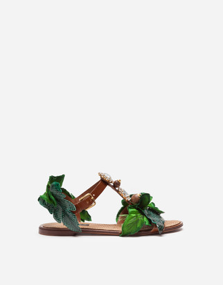 Dolce & Gabbana Sandal In Cowhide With Leaf Applique And Bejeweled Embroidery