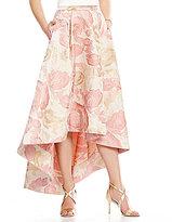 Eliza J Hi-Low Floral Printed Jacquard A-Line Skirt