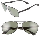 Ray-Ban Men's 61Mm Polarized Aviator Sunglasses - Matte Black/polar Green