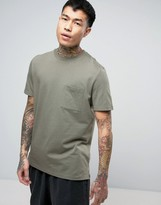 Asos T-Shirt With Pocket And Side Vents In Green