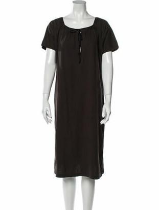 Dries Van Noten Scoop Neck Midi Length Dress Grey