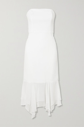 Halston Strapless Asymmetric Chiffon-trimmed Crepe Midi Dress