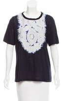 Tory Burch Embroidered Linen T-Shirt