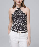 White House Black Market Women's Halter Tops White - White & Black Floral Twist-Neck Halter Top - Women & Juniors