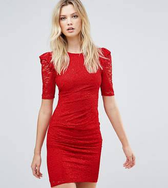 Asos Tall TALL Lace V Back Bodycon Mini Dress With Shoulder Ruffle-Red