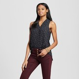 Mossimo Women's Sleeveless V-Neck Blouse Black with White Dots