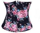 Bslingerie Womens Floral Denim Underbust Boned Corset Top (S, )