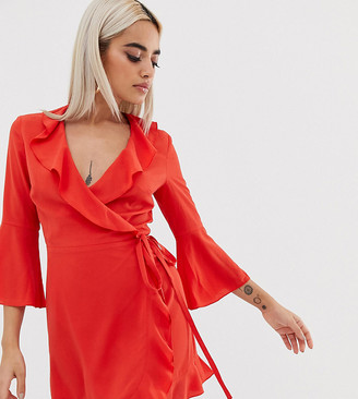 Outrageous Fortune Petite ruffle wrap dress with fluted sleeve in red