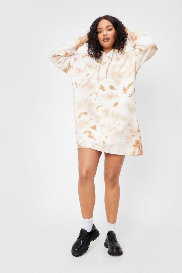 Nasty Gal Womens Plus Size Tie Dye Hoodie Dress - White - 16