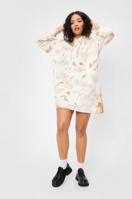 Nasty Gal Womens Get Your Groove On Plus Tie Dye Hoodie - Cream
