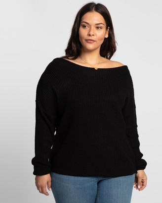 Missguided Curve - Women's Black Jumpers - Plus Off-Shoulder Zip Jumper - Size 14-16 at The Iconic