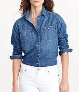 Lauren Ralph Lauren Petite Point Collar Long Sleeve Denim Utility Shirt
