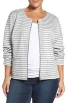 Sejour Plus Size Women's Stripe Knit Jacket