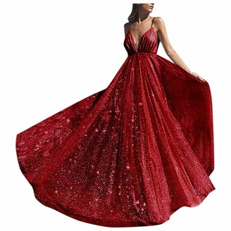 iHAZA Women Deep V Neck Formal Bridesmaid Evening Ball Prom Gown Long Wedding Cocktail-Dress Red