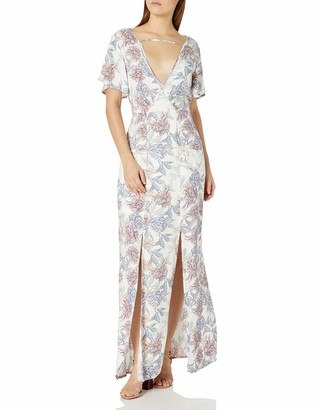 MinkPink Women's Mysterious Floral Print V Neck Maxi Dress