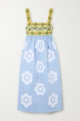 Miu Miu Crystal-embellished Grosgrain, Canvas And Appliqued Cotton-poplin Dress - Blue