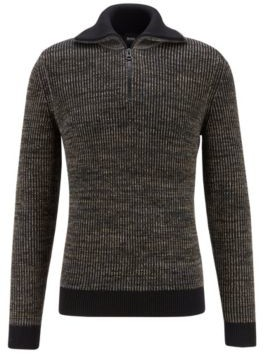 HUGO BOSS Turtleneck Sweater In Ribbed Mouline Fabric With Camouflage Patches - Light Green