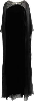 Alberta Ferretti Cape-back Embellished Chiffon-paneled Velvet Gown