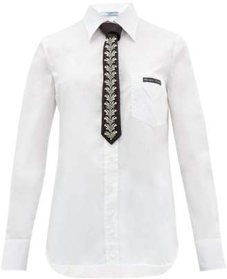 Prada Cotton-poplin Shirt & Crystal-embellished Silk Tie - Womens - White Multi