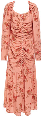 Mother of Pearl Ruched Floral-print Crepe Midi Dress