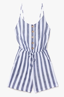 Nasty Gal Womens Your Line to Shine Striped Playsuit - White - M/L