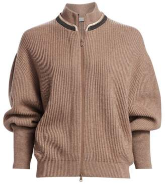 Brunello Cucinelli Monili-Trim Ribbed Cashmere Cardigan