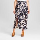 Harper and Zoe Women's Plus Size Floral Print Pleated Maxi Skirt Blue - Harper & Zoe