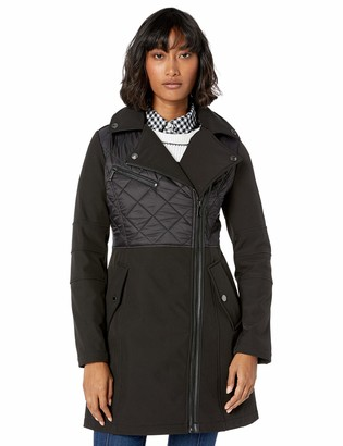 BCBGeneration Women's Assymetrical Zip Soft Shell Trench Coat with Quilt Detail