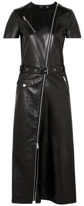 Sonia Rykiel Belted Zip-detailed Leather Midi Dress