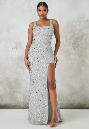 Missguided Silver Embellished Square Neck Maxi Dress
