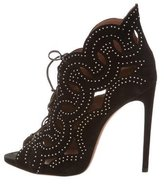 Alaia Laser-Cut Studded Ankle Boots