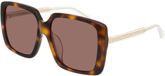 Gucci Colorblock Acetate Oversized Square Sunglasses