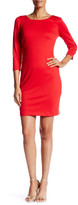 Chetta B 3/4 Length Sleeve Back Zip Solid Sheath Dress