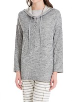 Max Studio Hooded Pullover With Lace Up Neckline