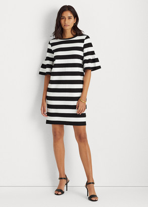 Ralph Lauren Striped Elbow-Sleeve Ponte Dress