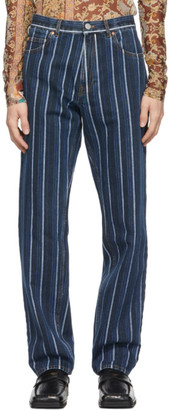 Martine Rose Black Stripe Straight Jeans